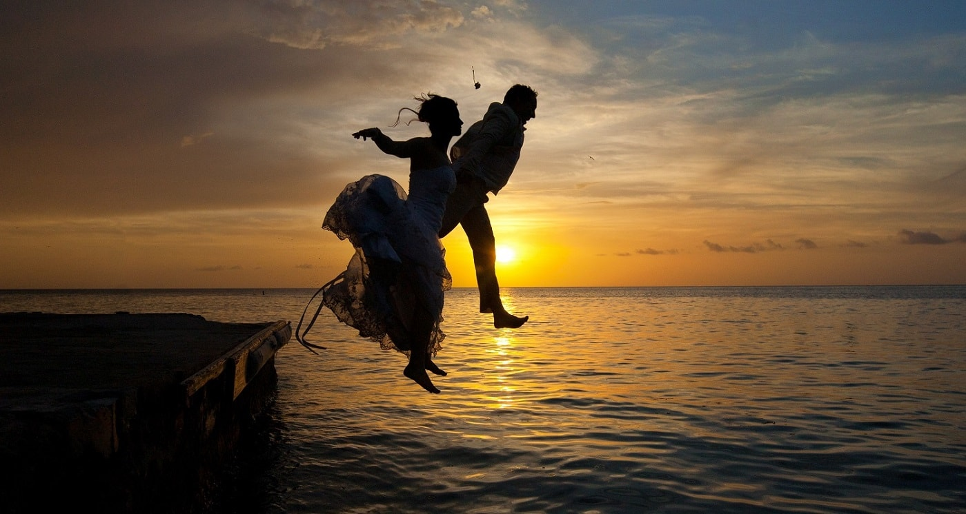 Newlywed Couple Jetty Sunset Anse Chastanet